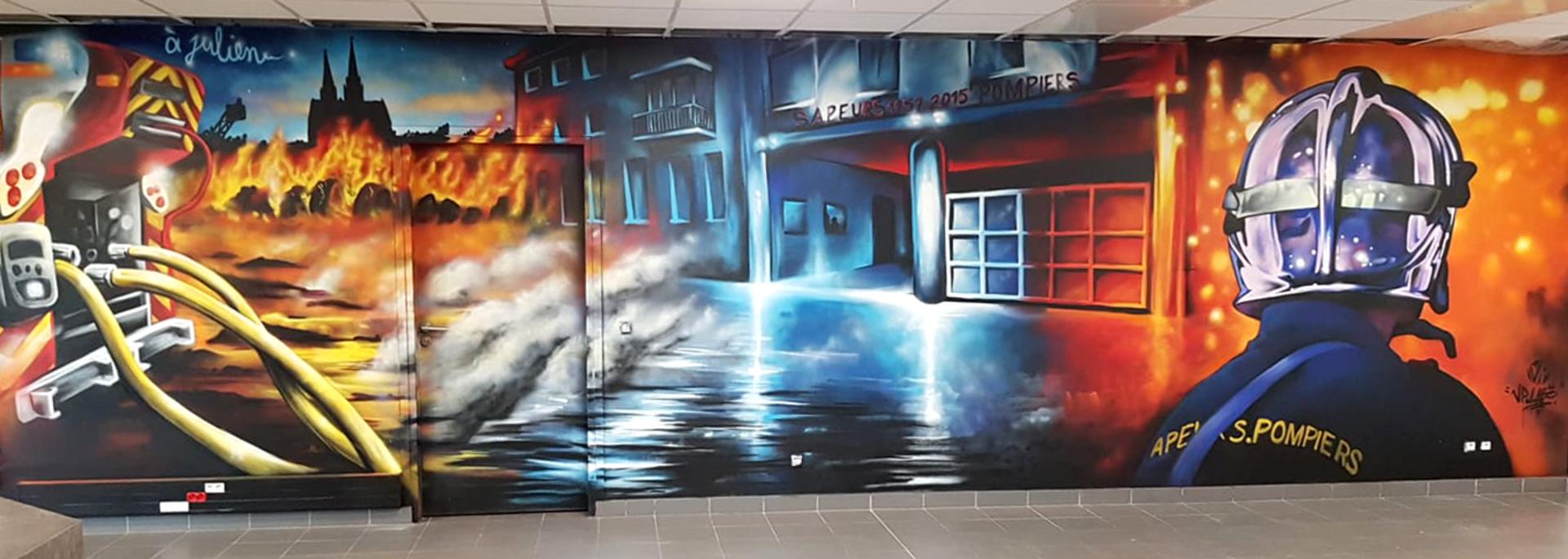 Fresque street art de Vincent Pascal à la caserne de pompiers de Champhol