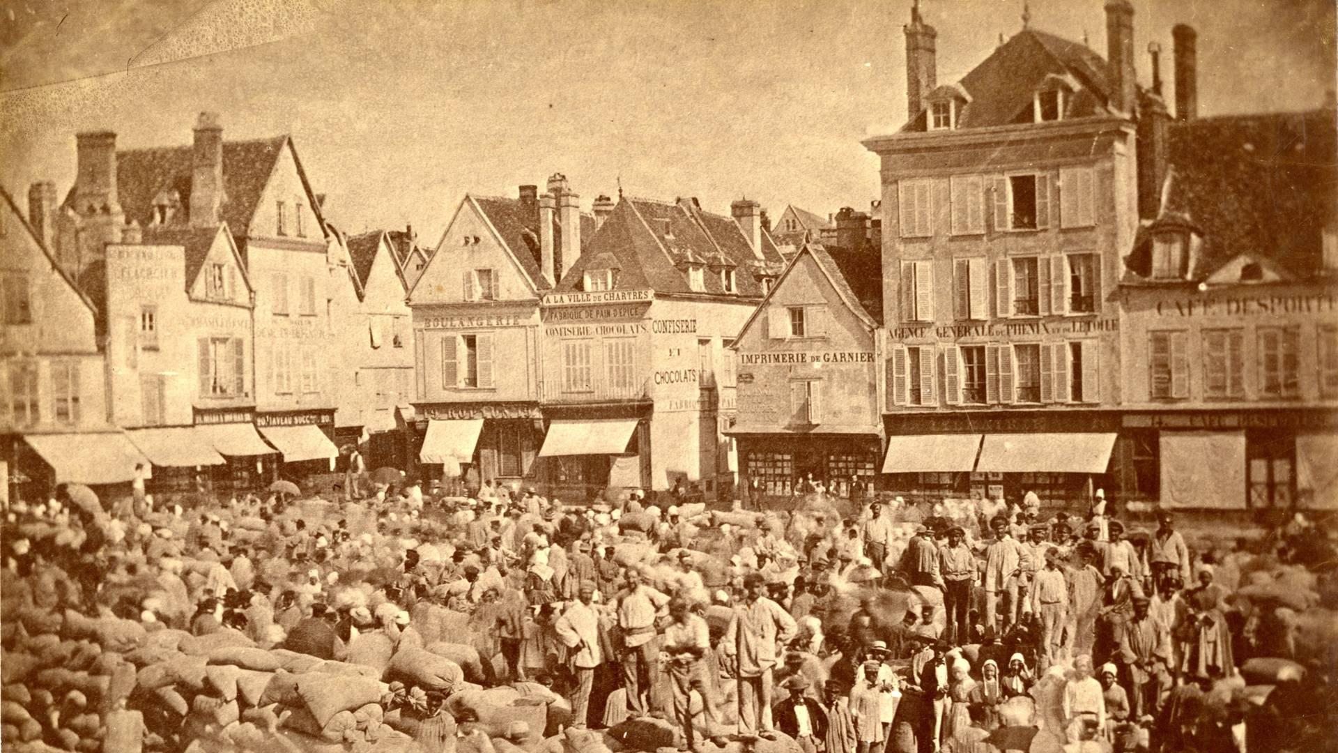 Place des halles en 1860