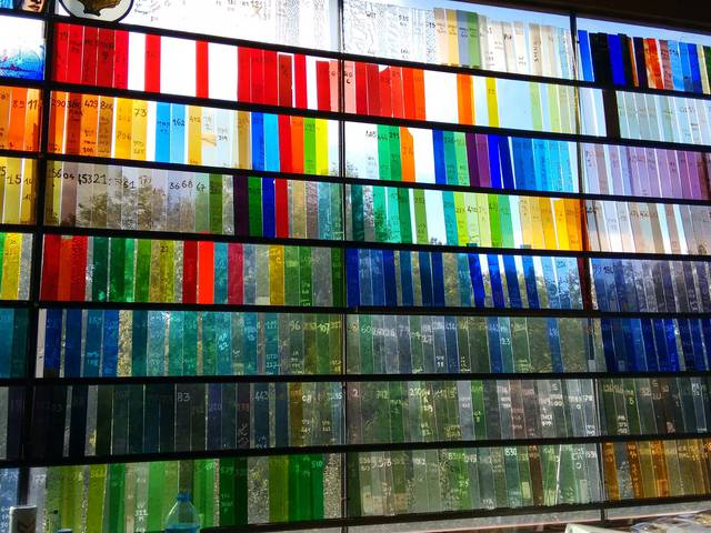 Echantillon de vitraux mis en lumières aux Ateliers Loire