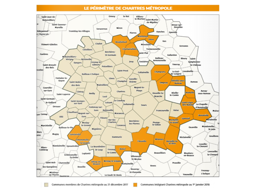Carte de l'agglomération de Chartres