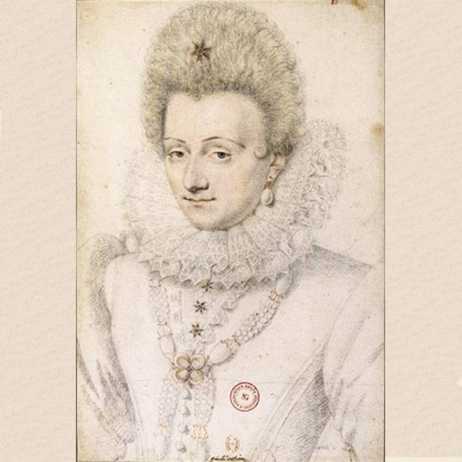 Portrait de Gabrielle d'Estrées au crayon par Daniel Dumoûtier vers 1599